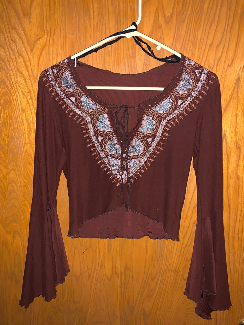 Lemon Fashion USA Brown Vintage Crop Top with Bell Sleeves and Psychedelic Hippie Pattern Size M