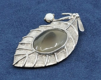 solid 925 silver stamped 925 Vintage 320257 silpada Sterling silver pendant with obsidian inlay