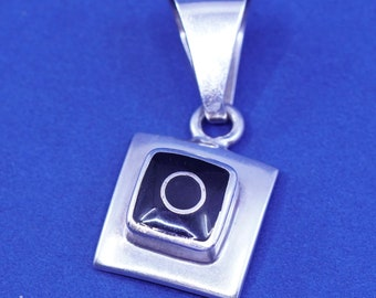 solid 925 silver square pendant with pink mother of pearl inlay details Sterling silver handmade pendant Vintage 520320 stamped 925 mex