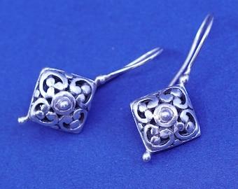 stamped 925 ATI 925 filigree Bali diamond drop Vintage sterling silver handmade earrings