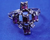 Size 9, vintage vermeil gold over sterling 925 silver ring with ruby and Cz, stamped 925 Sterling
