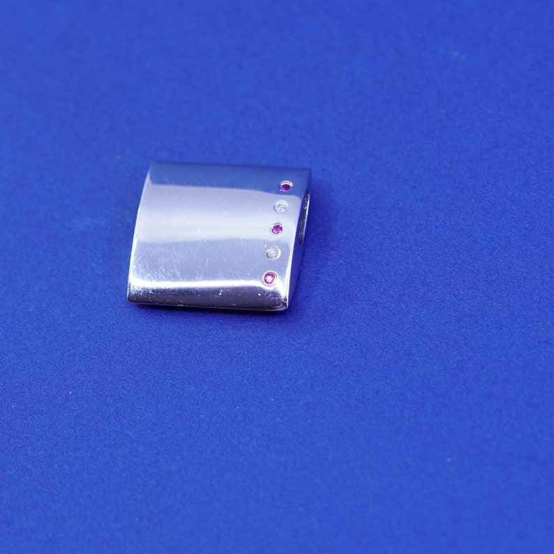 Vintage modern Sterling 925 silver handmade square pendant with crystal stamped 925 HDIN