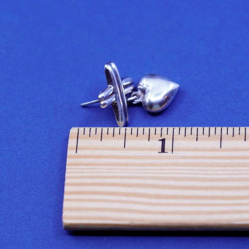 925 cross with heart Dangles Vintage Sterling silver handmade earrings stamped 925
