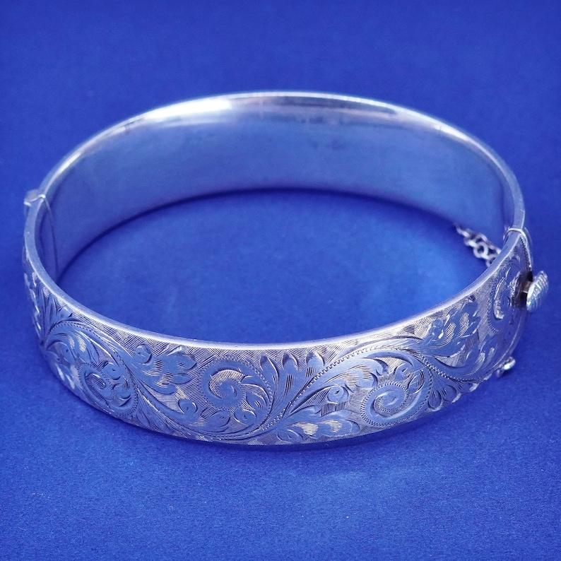 stamped Sterling CSG wide 925 hinged floral textured bangle RARE sterling silver handmade bracelet 7\u201d