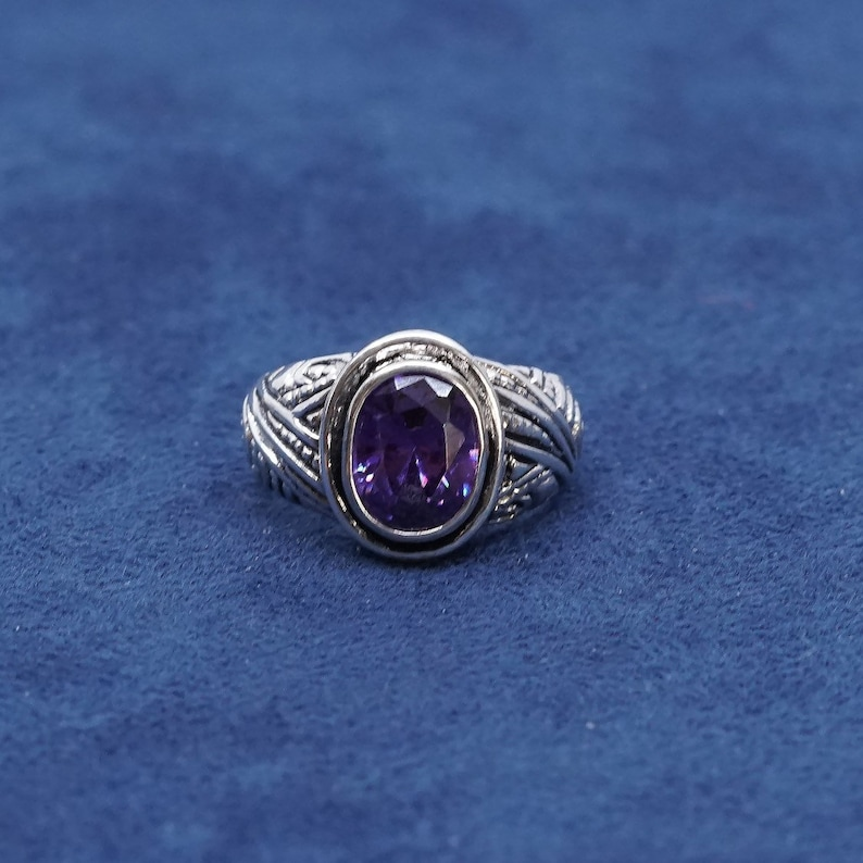 Sterling silver handmade ring 510305 vintage stamped 925 Size 8.25 solid 925 silver with amethyst ring