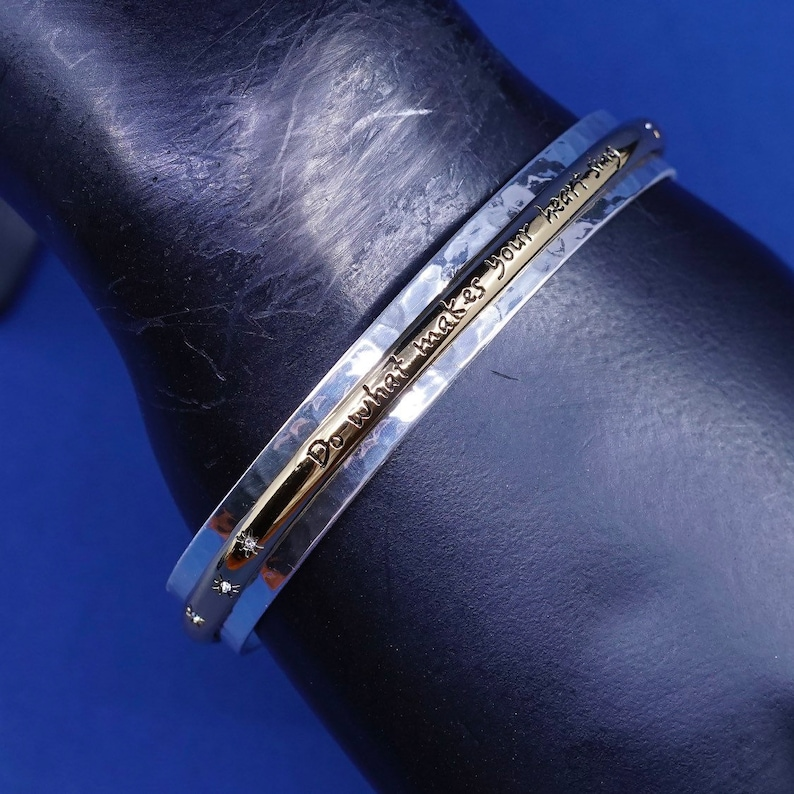 quote cuff with \u201ddo what makes your heart sing\u201d two Tone Brighton B Silver bracelet stamped B 7.5\u201d 530611 vintage