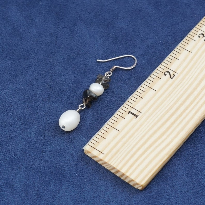 Sterling silver handmade earrings Vintage silver tested solid 925 silver with pearl and crystal drops 500479