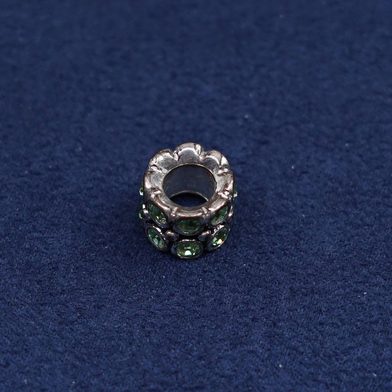 Silver Tested Sterling 520698 silver handmade pendant solid 925 silver bead charm with green Cz Inlay