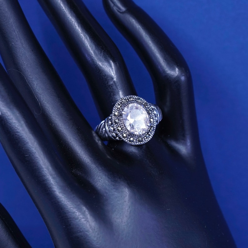 Size 7.5 stamped 925 vintage Sterling 925 silver handmade ring with Cz and marcasite around