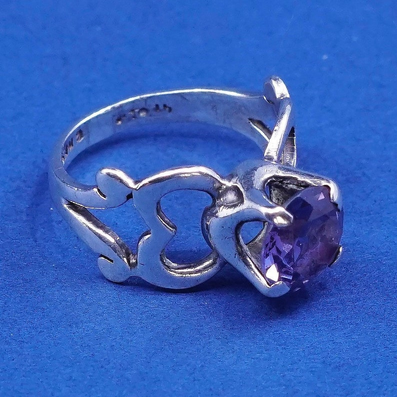 vintage Sterling silver handmade ring 510016 Size 7.5, stamped 925 mexico solid 925 silver heart with amethyst ring