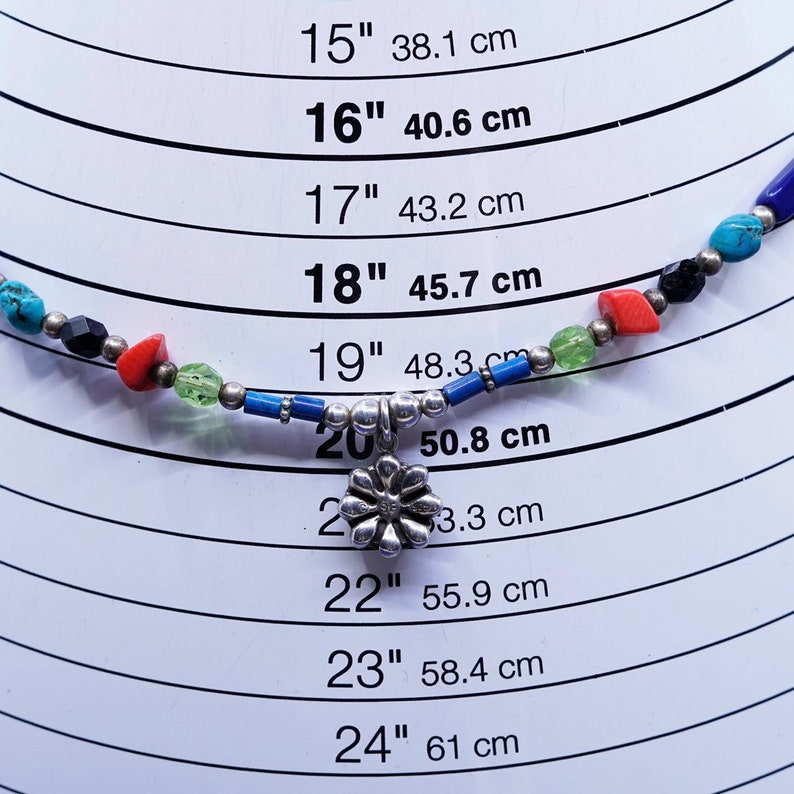 flower pendant 18\u201d turquoise stamped coral beads chain with 925 beads vintage Sterling 925 silver Native American Navajo Bead necklace