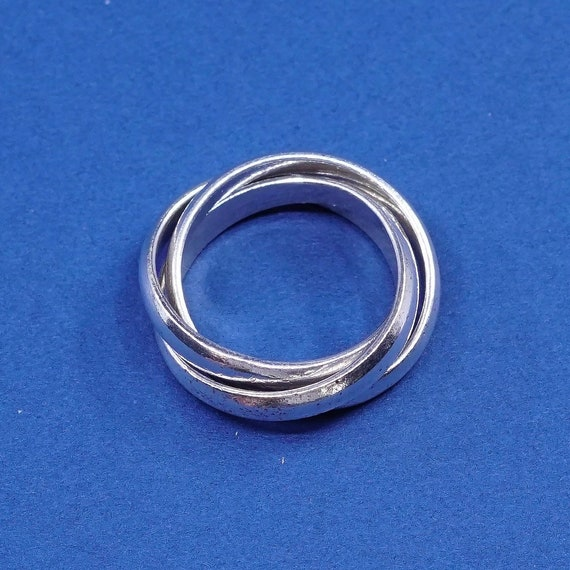 Vintage silver blue bead ring size 4.5  silver blue bead ring