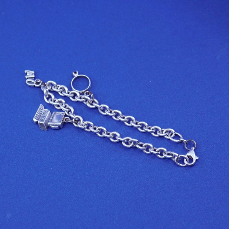 vintage Viking Sterling silver handmade bracelet 5mm 7\u201d 925 bold circle chain with engagement ring computer MO charms stamped 925