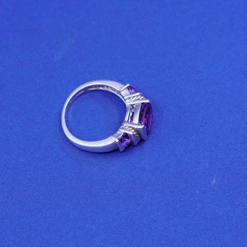 stamped 925 14K vintage 14K gold cable with Sterling 925 silver handmade ring and amethyst Size 6.25
