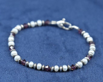"7"", vintage sterling silver handmade bracelet, solid 925 silver with carnelian n pearl beads, stamped 925"