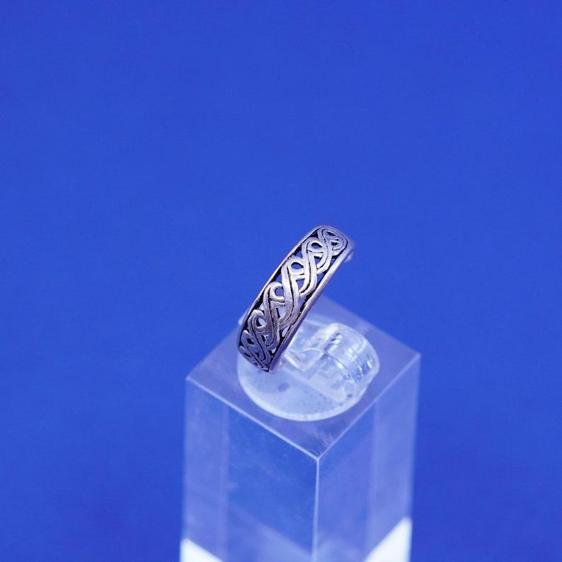 Size 5 filigree 925 band vintage Sterling silver handmade ring stamped 925 open end