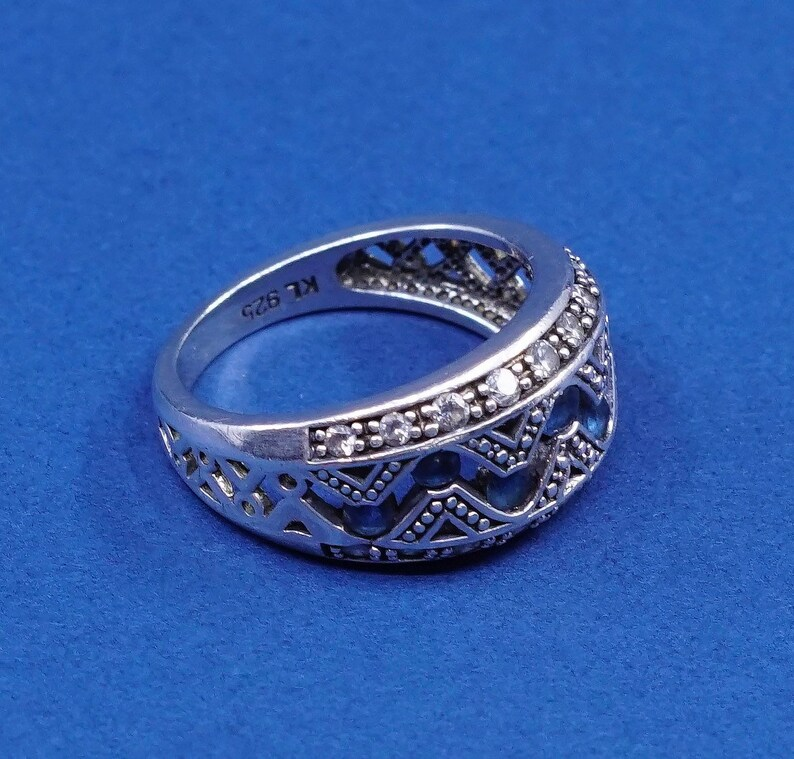 stamped 925 KL solid 925 silver with sapphire and crystal inlay sterling silver ring Size 6.25 510045 vintage