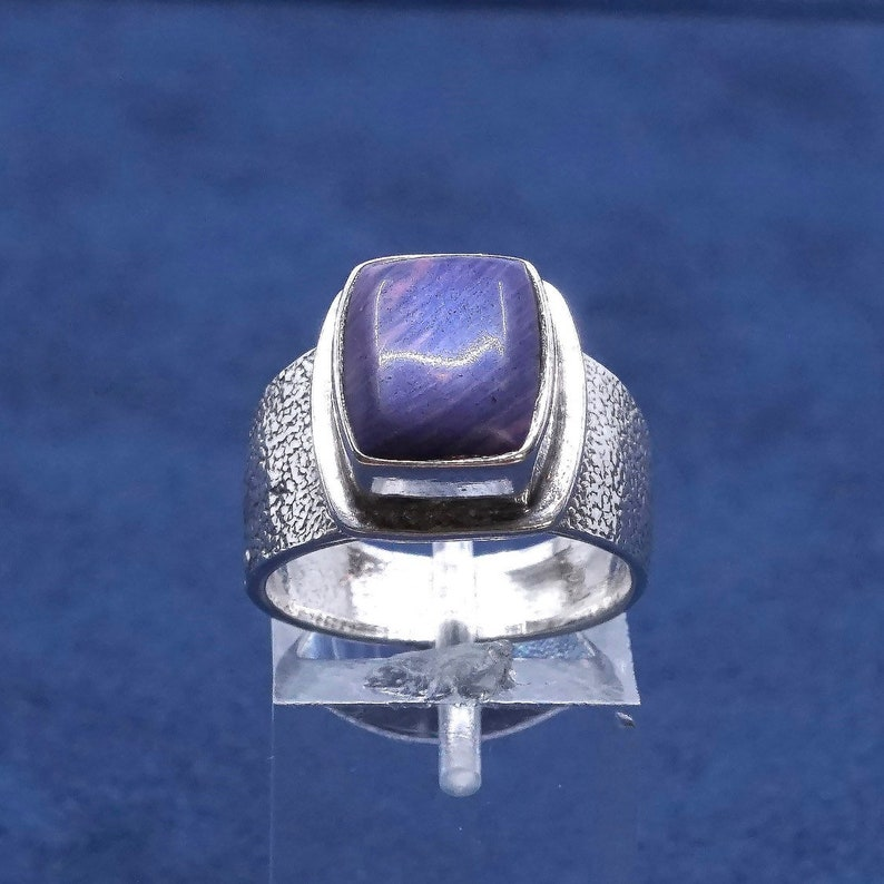Sterling silver handmade ring solid 925 silver with purple agate and wave details vintage Size 7 510352 stamped sterling OTTO