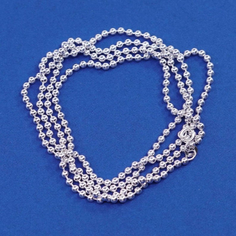 1.6mm 540055 Sterling silver handmade necklace vintage 30 solid 925 silver beads chain stamped 925 Italy