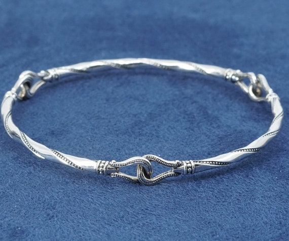 7.75 solid 925 silver twisted cable bangle vintage 530534 sterling silver handmade bracelet stamped 925 A