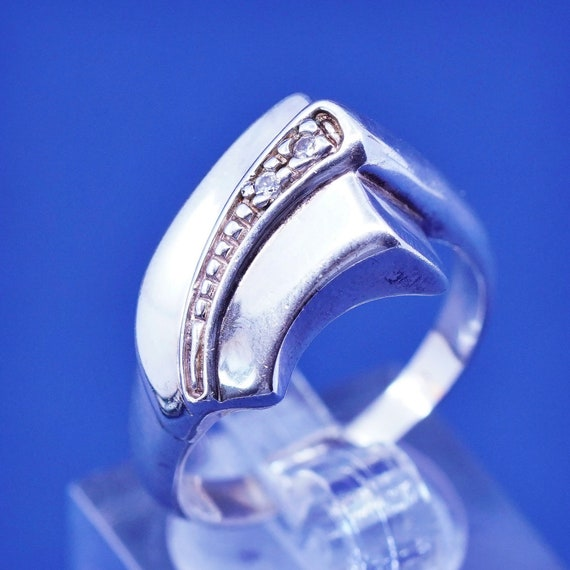 Size 6 Sterling silver wedding ring vintage 510588 solid 925 silver band with clear crystal around stamped 925
