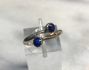 Size 6.5, vintage Sterling silver handmade ring, Native American, southwestern, 925 silver with lapis lazuli, stamped Sterling