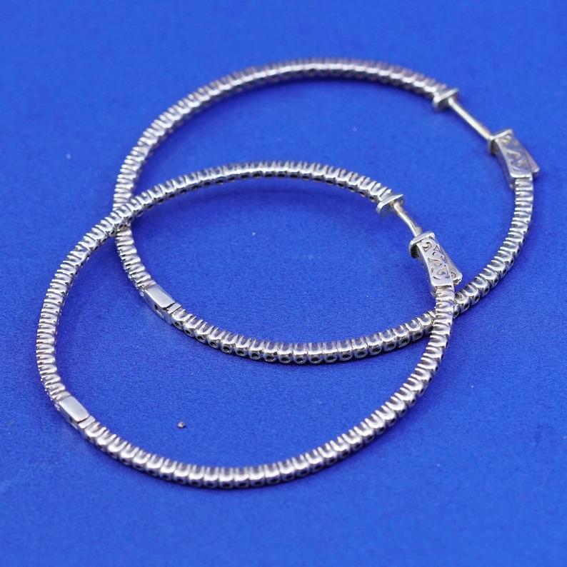 925 hoops stamped 925 Vintage vermeil gold filled Sterling silver handmade earrings 1.75\u201d huggie with Cz