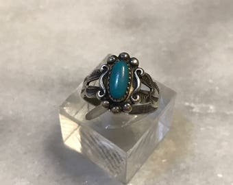 Size 3, vintage Sterling silver handmade ring, Native American, southwestern, 925 silver with turquoise, silver tested