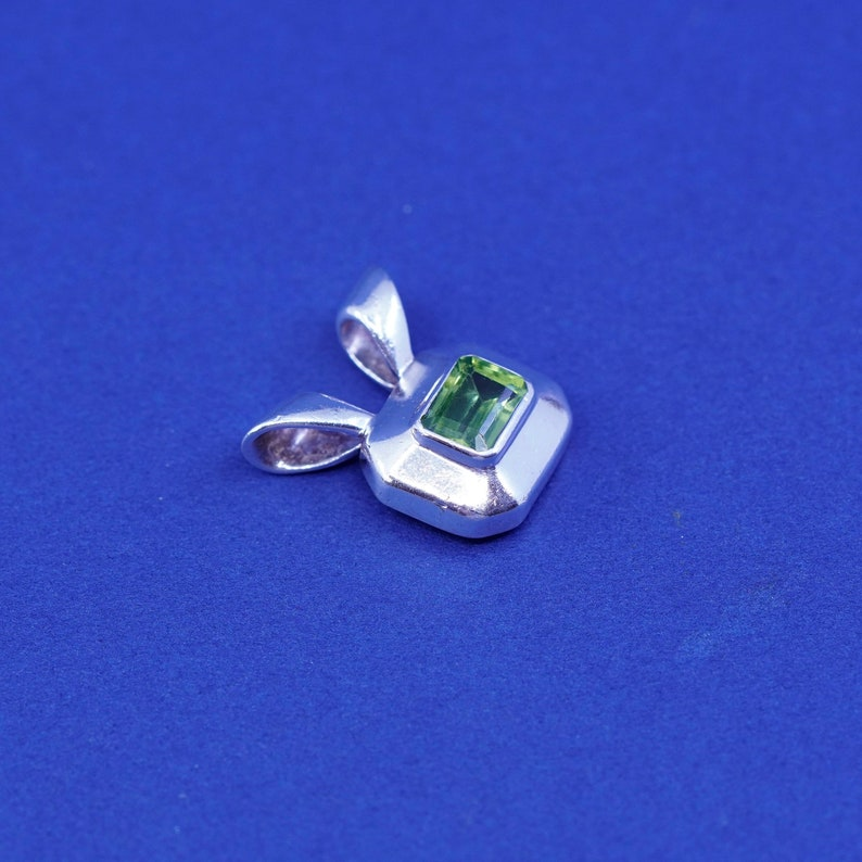 925 square with peridot Vintage Sterling silver handmade pendant stamped 925 BOO