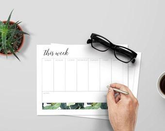 Printable Weekly Calendar, Digital Download, Tropical Theme