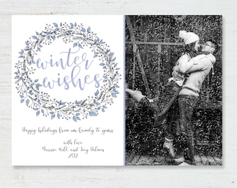 Printable Holiday Card / Winter Wishes Illustrated Holiday Wreath Card