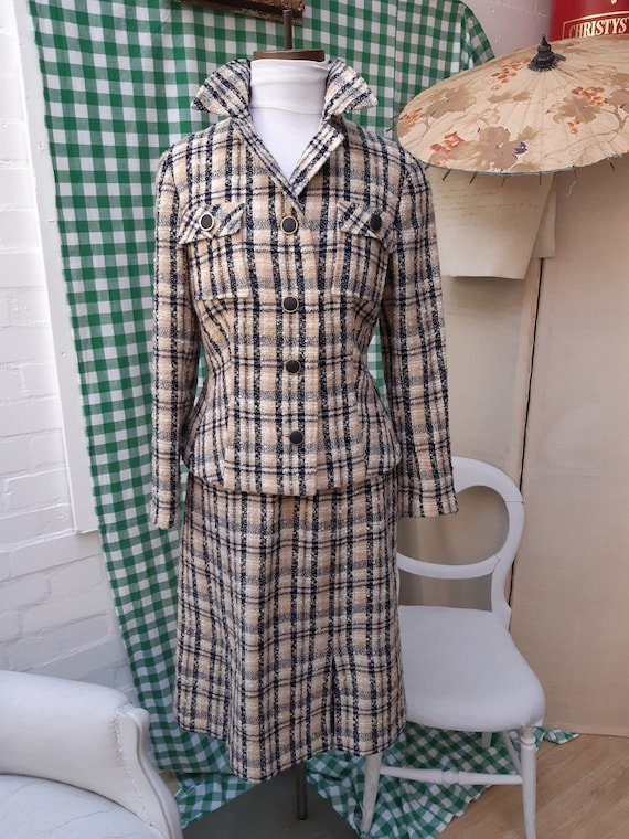 A beautiful boucle wool ladies skirt suit by Norma