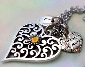 November Birthstone Necklace, Filigree Heart w-Letter & Heart Charms, November Birthday Gift, Swarovski Topaz Crystal, Great Birthstone Gift