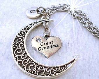 Great Grandma Filigree Crescent Moon Necklace w-Letter Charm of Your Choice, Great Grandma Gift, Great Grandma Birthday, Great Grandmother