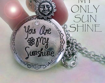 45d68dac4aa8dc You Are My Sunshine Locket-Personalized w-Your Photo Inside! Sun Charm &  Letter Charm, You Are My Sunshine Necklace for Women, Teens, Girls