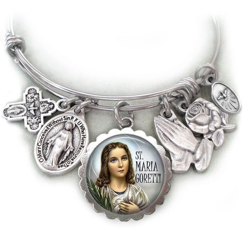 Saint Maria Teresa Goretti Bangle Bracelet Youth Confirmation Patron Saint of Crime and Rape Victims Maria Goretti Teenage Girls St