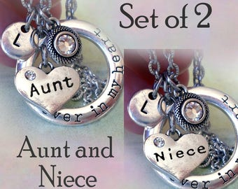 Set of 2 Aunt and Niece Necklaces, Forever in My Heart w-Letter Charms of Your Choice, Aunt Birthday, Niece Birthday, Aunt & Niece Gift