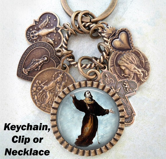 Handcrafted with lOve! Confirmation Gift St Francis Borgia Necklace Keychain or Clip Patron Saint Catholic Jewelry