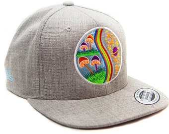 Mushrooms Evolution - embroidered grey premium snapback