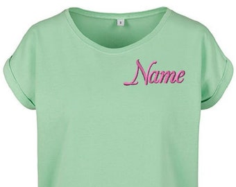 Personalized Ladies Organic tee   Not a a print, lasts forever   Best quality embroidery   Different colurs and fonts avaiable by request