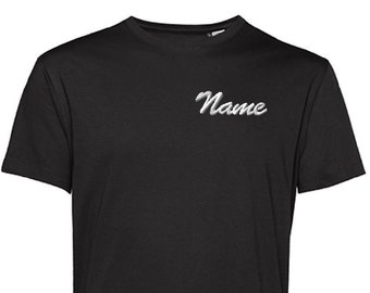 Personalized Men Organic tee   Not a a print, lasts forever   Best quality embroidery   Different colurs and fonts avaiable by request