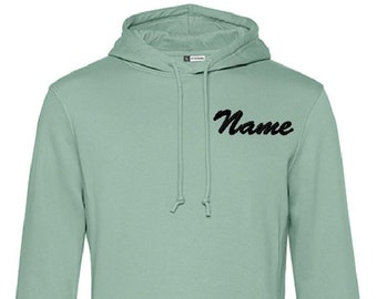 Personalized Man Organic hoodie   Not a a print, lasts forever   Best quality embroidery   Different colurs and fonts avaiable by request