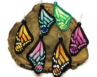 Embroidered butterfly earrings Butterfly wings Long handmade dangle earrings