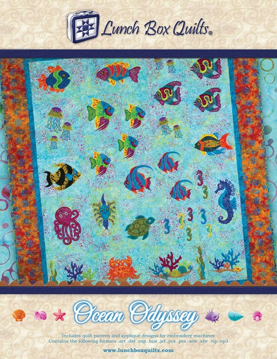 Lunch Box Quilts Ocean Odyssey Machine Embroidery Etsy