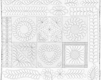 Skillbuilder Preprinted Panel #2 for Free-Motion Quilting by Machine - 100% cotton 36in x 45in - by Renae Allen