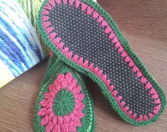 f90c9909e05884 Knit slipper Crochet shoes House slippers Warm shoes Wool slippers Women  slippers Home slipper