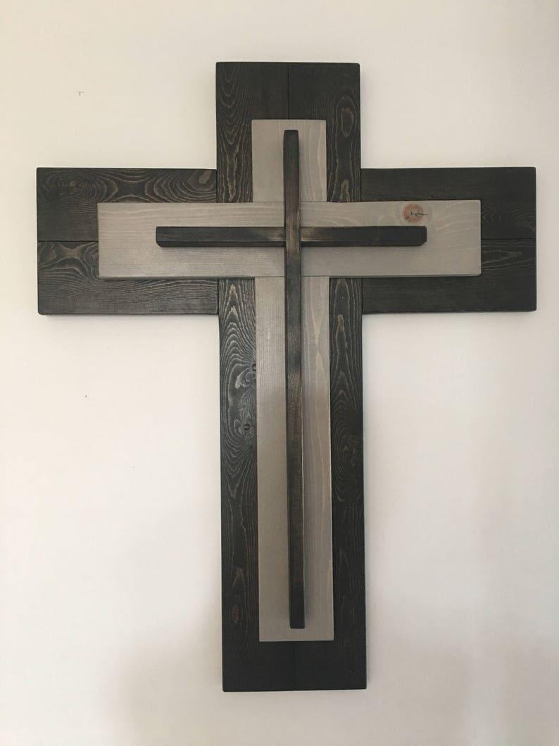 Rustic Wooden Cross Wall Decor Christian Cross 3 Layer Cross Christian Wall Art Christian Memorial Cross Cross Decor Gallery Wall