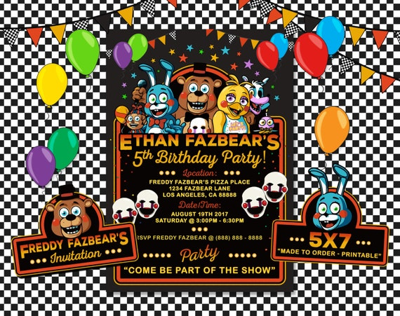 Five Nights At Freddys Invitation