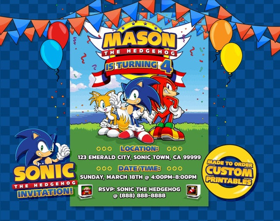 Sonic the Hedgehog Invitation Sonic the Hedgehog Birthday ...