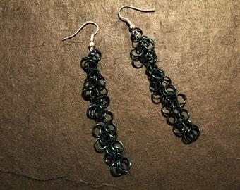 Teal Enameled Copper Shaggy Loop Chainmail Earrings